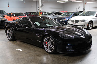 Black Corvette bought from bad credit auto dealerships in Hayward, California.