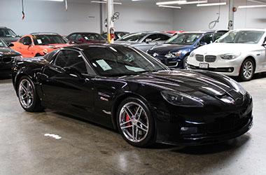 Black Corvette bought from bad credit auto dealerships near San Carlos, California.